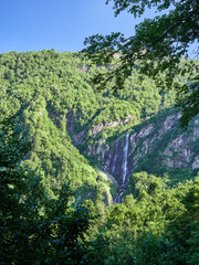 Majestic views of the green mountains with the highest waterfall