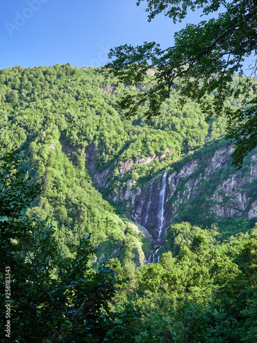 Majestic views of the green mountains with the highest waterfall - 258183343
