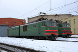Beautiful old fashioned locomotive at the railway station in winter