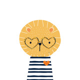 Cute little lion with gold glitter eyeglasses. Vector hand drawn illustration.