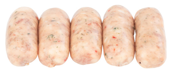 Raw pork sausages isolated on white background with clipping path © Oleksandr
