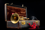 Old covered patina trumpet in a case. A historic wind musical instrument and a suitcase.