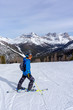 Young Skier on top of  Mountain at Lake Louise in the Canadian Rockies