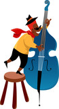Little boy playing a jazz contrabass, EPS 8 vector illustration