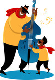 Father and son playing a jazz contrabass, EPS 8 vector illustration