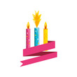 set of birthday candles with ribbon