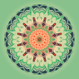 Lacy round pattern, mandala. Green background. Elements of orange, beige and dark blue.