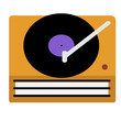 turntable flat illustration on white