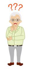 Senior man who has doubt something with three question marks -full length © sayuri_k