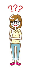 Female university student who has doubt something with three question marks -full length, line art © sayuri_k