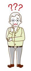 Senior man who has doubt something with three question marks -full length, line art © sayuri_k