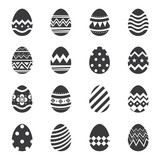 Easter eggs icon isolated background. Set of modern new design with different patterns.