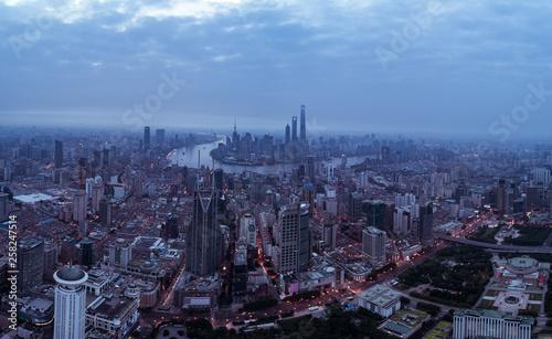 aerial view of East Nanjing Road, Shanghai, China. In dawn © bob