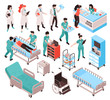 Isometric Hospital Workers Set