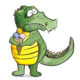 Crocodile With Icecream Animal Sketch White Background