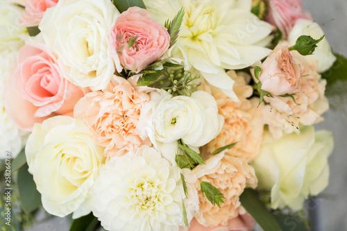 Close up of pastel floral bouquet