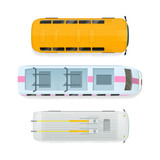 City public transport top view icons set. Bus, tramway, metro train, trolleybus flat vector illustration isolated on white background. For game environment, urban infographics, logo, web design