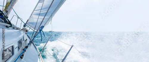 Leinwandbild Motiv sailboat sailing with waves, template