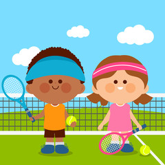 Children playing tennis. Vector illustration