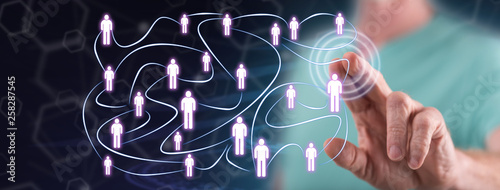 Leinwandbild Motiv Man touching a social network concept