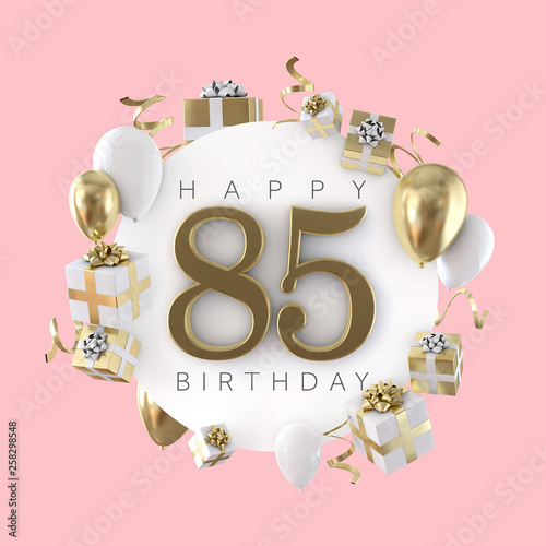 Happy 85th Birthday Party Composition With Balloons And Presents 3D Render