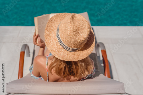 canvas print picture female book reading in summer vacation
