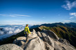 Leinwandbild Motiv Epic adventure of hiker do trekking activity in mountain of Northern Japan Alps, Nagano, Japan, with panoramic nature mountain range landscape. Motivation leisure sport and discovery travel concept.