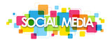 SOCIAL MEDIA colorful typography banner
