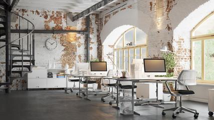 Office in old vintage brick Loft apartment 3d rendering