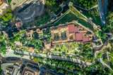 Malaga aerial view of the Alcazaba, cathedral and port