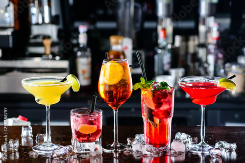 Selection of cocktails martini spritz in bar blurred background - 258386797