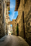 Pienza. Streets and towers of Pienza, small medieval town in Tuscany, Italy