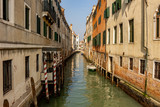Italy, Venice, view of canals among the typical Venetian houses.