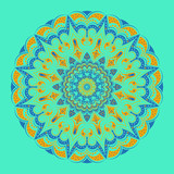 Lacy round pattern - mandala,  blue background, lines and elements of orange and pale green shades. Sharp rays, small flowers. Harmony and tranquility, a national color.