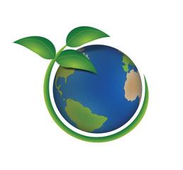 Pianeta terra ecologico con pianta verde intorno