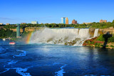 American side of Niagara Falls with rainbow, summer view, New York state, USA
