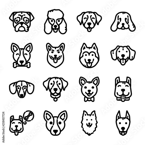 fototapeta na ścianę Dogs Icon Set