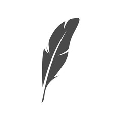 Vector feather pen black icon. Isolated on white background
