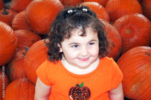 Child in the Pumpkin Patch - 258453385