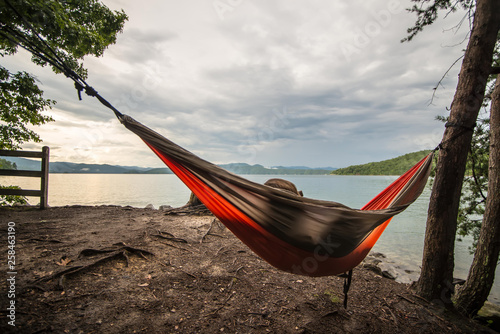 camping in mountains near a lake - 258463190