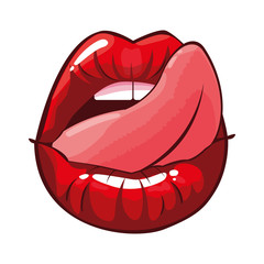 sexy female lips with tongue out pop art style