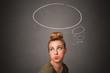 Leinwandbild Motiv Pretty girl thinking with speech bubble above her head