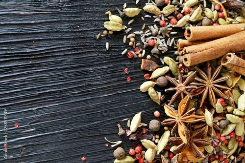 Spice mix on dark wood background © cobaltstock