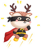 a vector of a cute deer in a superhero costume