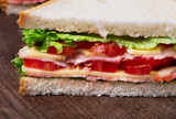 close-up of sandwich on wooden background