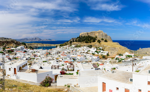 Lindos village and Lindos castle, Rhodes island, Dodecanese, Greece © r_andrei