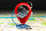 Hospital or pharmacy location and direction concept. Pin or map point with pills, stethoscope and jerring on the map of the city. - 258556939