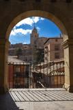 Framed view arch of medieval city Albarracin. Aragon, Spain. - 258556999