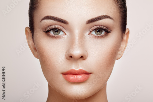 Leinwandbild Motiv Beautiful Woman with Extreme Long False Eyelashes. Eyelash Extensions. Makeup, Cosmetics. Beauty, Skincare