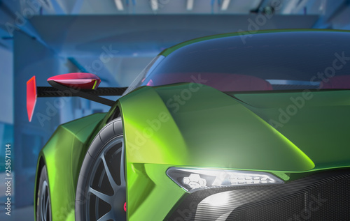 3d render of a generic sportscar front - 258571314